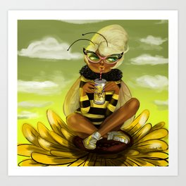 Bug Girls: Bee snack break Art Print