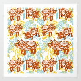 The Year of The Pig with Chysanthemums Art Print