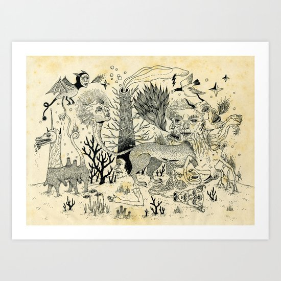Grotesque Flora and Fauna Art Print