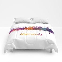 Karachi skyline in watercolor Comforters