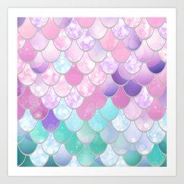 Mermaid Sweet Dreams, Pastel, Pink, Purple, Teal Art Print