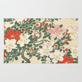 Vintage Azalea Japanese Woodcut Rug