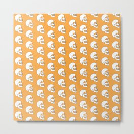 White Skull Pattern with Light Orange Background Metal Print
