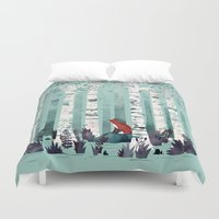 autumn Duvet Covers featuring The Birches by littleclyde