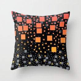 rectangles pattern orange yellow - black Throw Pillow