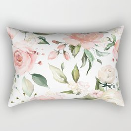 Watercolor Pink Peonies, Pink and White Roses and Greenery Rectangular Pillow