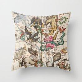 Vintage Constellation Map - Star Atlas - Sagittarious - Scorpio Throw Pillow