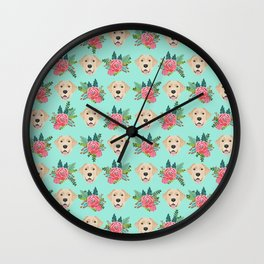 Yellow Labrador Retriever floral bouquet flowers yellow lab dog breed pattern gifts Wall Clock