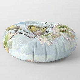 Mejiro in Dogwood Tree Floor Pillow