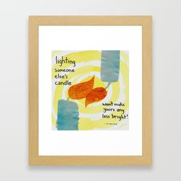 Lighting candles Framed Art Print