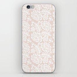 Elegant coral white modern floral lace pattern iPhone Skin