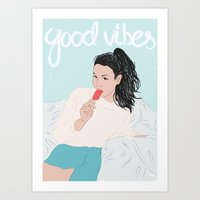 good vibes Art Prints featuring Good Vibes by Elly Liyana
