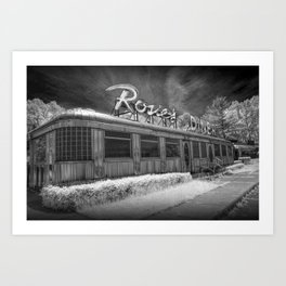 Rosie's Diner Photograph in Infrared Black & White by Rockford, Michigan Art Print