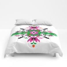 Fuchsia and Green Ethnic Aztec Ornament Comforters