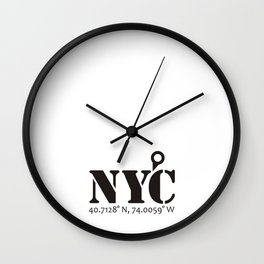 NYC / New York City (Never Get Lost) Wall Clock