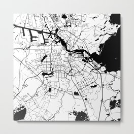 Amsterdam White on Black Street Map Metal Print
