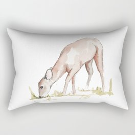 Deer Fawn Watercolor Painting Rectangular Pillow