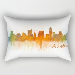 Austin Texas, City Skyline, watercolor  Cityscape Hq v3 Rectangular Pillow