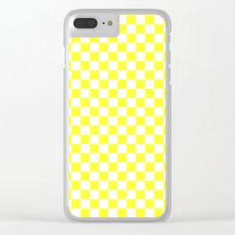White and Electric Yellow Checkerboard Clear iPhone Case