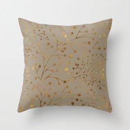 Tan & Gold Brunches Seamless Pattern Throw Pillow