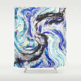 psychedelic geometric polygon pattern abstract in blue yellow black Shower Curtain