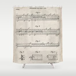 Engineering Patent - Engineers Slide Rule Art - Antique Shower Curtain