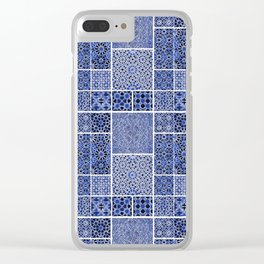 HOMEMADE BLUE ZELLIGE PATTERN Clear iPhone Case