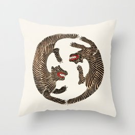 Vintage Japanese Tiger design Throw Pillow