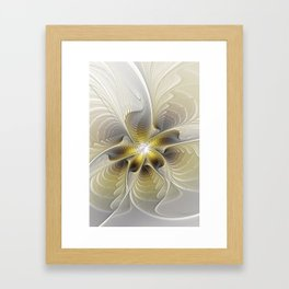 Gold And Silver, Abstract Flower Fractal Framed Art Print