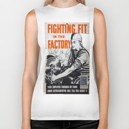 Vintage poster - Fighting Fit in the Factory Biker Tank