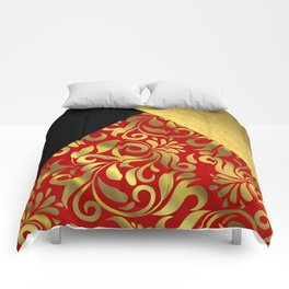 Gold Red Swirls with Triangle Flap Accents Comforters