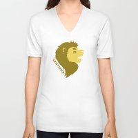 gryffindor V-neck T-shirts featuring Gryffindor by Caleb Cowan