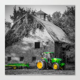 Farmscape and Green Tractor In Selective Color 1x1 Canvas Print