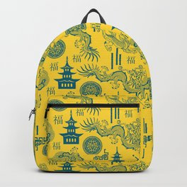 Yellow and Blue Chinoiserie Backpack