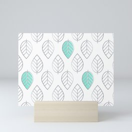 Silver Foil & Mint Leaves Pattern Mini Art Print