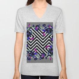 Geometric  black-White Morning Glories Grey Pattern Garden  Art Unisex V-Neck