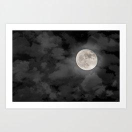 Cloudy Moonlit Night Art Print