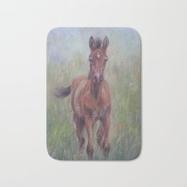 Baby Horse, Foal in the spring meadow, Cute Horse portrait Pastel drawing Bath Mat