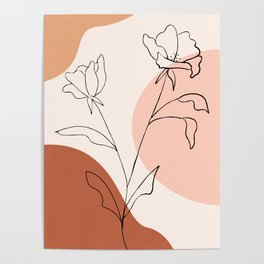 Poppies line drawing Poster