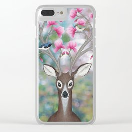 white tailed deer, black throated blue warblers, & magnolia blossoms Clear iPhone Case