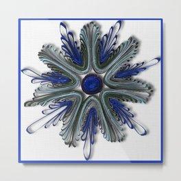 Ocean Blue Quilling Flower Metal Print