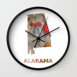 Alabama map outline Rosy brown clouded wash drawing painting Wall Clock