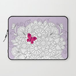 bouquet flowers in the teapot with red butterfly Laptop Sleeve