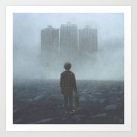 giants Art Prints featuring Boy and the Giants by yurishwedoff