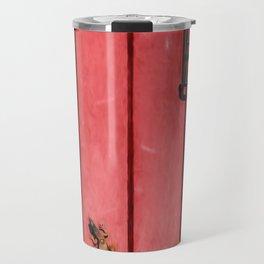 Faded Weathered Red Painted Speakeasy Door of Old World Europe Travel Mug
