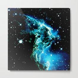 galaXY Monkey Head Nebula turquoise blue Metal Print