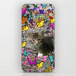 Emma in Butterflies - Gray Tabby Kitty iPhone Skin