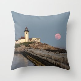 Full Flower Moon at Eastern point lighthouse Throw Pillow
