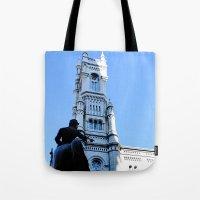 onward Tote Bags featuring Onward (Philadelphia) by Julie Maxwell