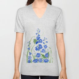 Blue Larkspur Watercolor Garden Flower Delicate Painting Unisex V-Neck
